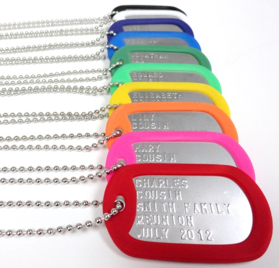 Toys For Family Reuion : Family reunion personalized dog tags favors