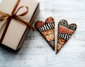 Set of 2 heart magnets rustic home decor kitchen decor brown white black orange african - HandyHappyHearts