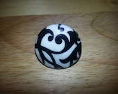 Adjustable Black and White Damask Print Fabric Covered Button Ring