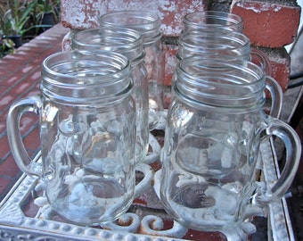 Mason Jar Beer Mugs - 6 Mugs - mm6