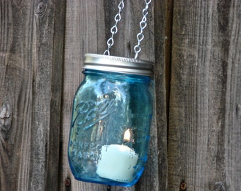 Heritage Collection Blue Mason Jar and Hand Made Mason jar Tea Light or Votive Lid -  With Chain for Hanging