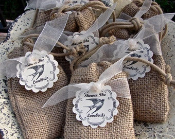 Birdseed Wedding Favors In Natural Burlap Bags With Tags - 50 Pieces
