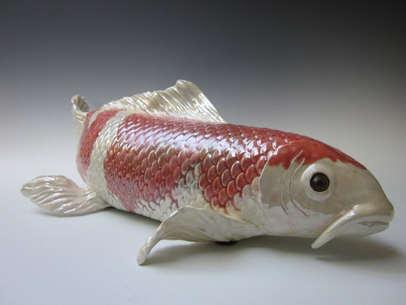 Koi fish sculpture handmade white orange koi for Orange coy fish