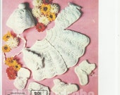 vintage knitting pattern for baby  stunning shell pattern  matinee jacket hat shoes dk wool