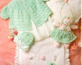 vintage knitting pattern for baby  stunning  matinee jacket hat  and booties doll quilt and pillow