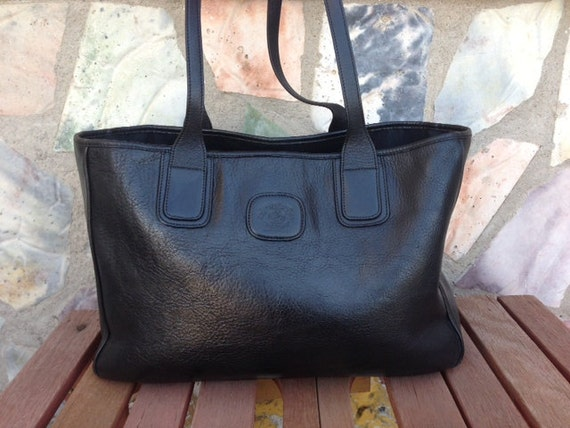 864be294e Gurkha Bag: Vintage GHURKA Stadium No.71 Black Leather Tote Bag Shoulder