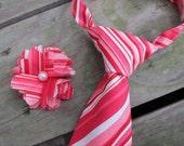 Neck Tie, Hair Clip Set- Valentine's Boys Neck Tie- Valentine's boy, girl accessories- Red, pink, white strip neck tie