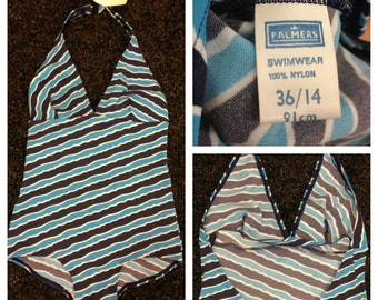 Vintage Bathing Suit / Small - Medium Swimsuit / Deadstock Palmers Swimwear England / 1960's Striped blue