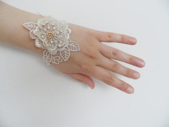 lace bracelet, gold lace bracelet, bridal bracelet, bridesmaid bracelet, wedding bracelet