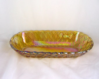 Indiana Carnival Glass Relish or Bread Dish in Marigold Pretzel Pattern