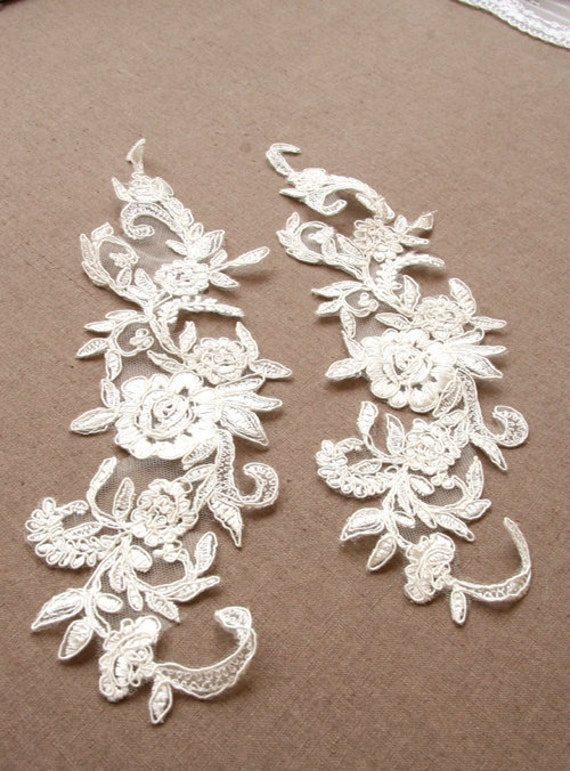 lace applique A lot of 2 vintage lace applique made in
