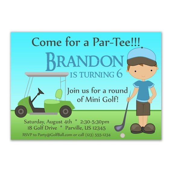 Golf Invitation - Cute Little Blue Boy Golfer and Lime Green Golf Cart Personalized Birthday Party Invite - a Digital Printable File
