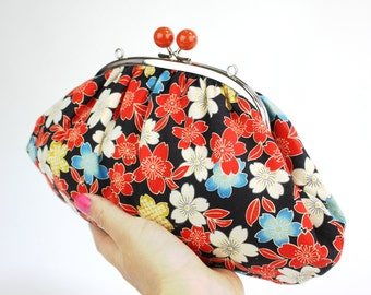 Japanese Cherry Blossoms Clutch Bag, Kisslock Frame, Silver Coloured Chain, Polka dots interior