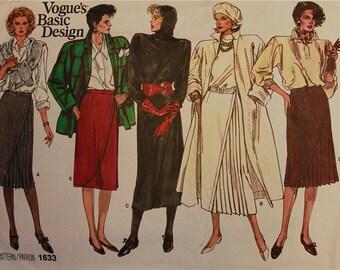 Skirt Set - Wrap & Pleated  -  VogueBasic Design Pattern 1633  Uncut  Sizes 12