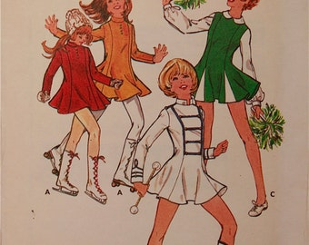 Girls' Cheerleader, Majorette & Skating Costume -1970's - Butterick Pattern 4936 Uncut  Size 10  Bust 28.5""