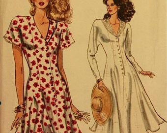 """Dress, Lace Collar - 1980's - Vogue Pattern 7435  Uncut  Sizes 6-8-10  Bust 30.5-31.5-32.5"""""""