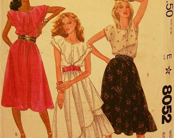 """Top & Skirt by Roland Klein - 1980's - McCall's Pattern 8052   Uncut   Size 14  Bust  36"""""""