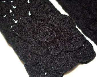 FREE SHIPPING Hand crochet black leg warmers