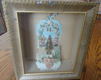 Vintage Shadow Box Frame with Antique 3D Valentine Card