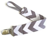 Pacifier clip for baby  - Gray Chevron - pacifier holder Nuk Soothie pacifier clip