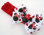 Minnie Boutique Mouse Head Hair Bow Designer Ribbon Red And White Made On Headband