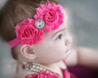 Hot pink Headband Baby Headband Shabby Chic double Headband baby bow newborn headband toddler headband