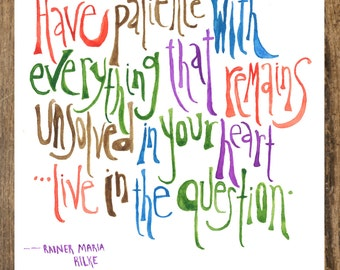 8x10 Rainer Maria Rilke Watercolor Print Quote
