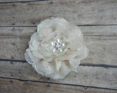 Light Tan Shabby Chic Fabric Flower Hair Clip