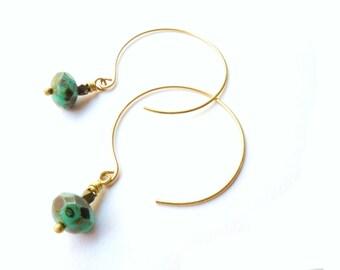 Brass Hoop Earring, Turquoise Jewelry, Beaded Dangle, Open Hoop, Czech Glass, Lightweight, Modern Brass Jewelry