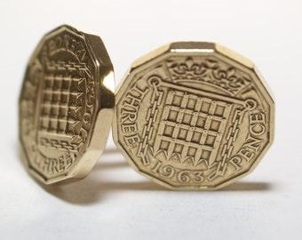 1963 Threepence 3d 54th birthday Cufflinks - Original threepence coin cufflinks 53rd