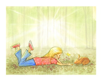 Children's Wall Art Illustration - Little girl in the woods - Expect Miracles- Text Option and Customizable Hair Color