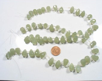 FANTASTIC DEAL- 2 x strand faceted new jade light tear drop- Time to go 11