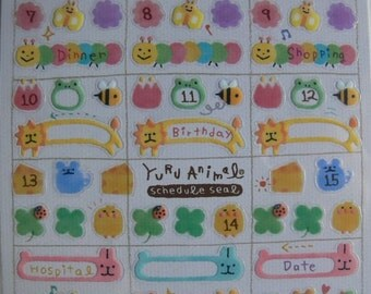 Japan Mind Wave Kawaii YURU ANIMAL Schedule Sticker sheet 75105