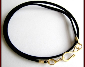 14 to 24 inch Black Necklace Cord, Gold Designer Hook Clasp, Black Faux Suede cord, Pendant Cord,  Charm Cord, Jewelry Accessory