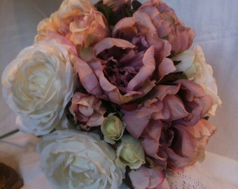 Artificial Vintage Wedding  Flowers Peonies Roses Bouquet