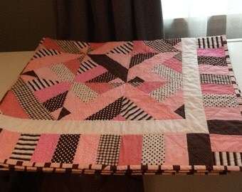 Pink and Brown patchwork lap sized quilt and matching pillow cover