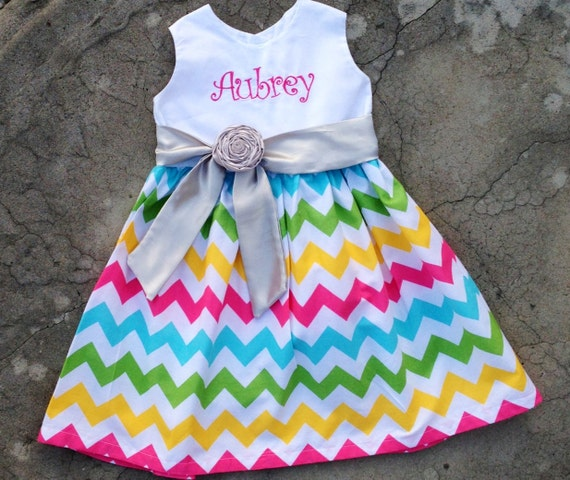 Girls Chevron Dress monogrammed baby spring summer dress 3 mos, 6 mos 9 mos, 12 mos, 18 mos, 2t, 3t, 4t, 5t