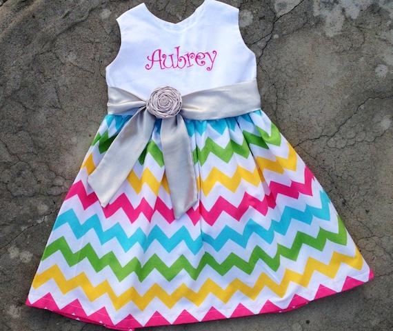 Girls Chevron Dress monogrammed baby spring summer dress 3 mos, 6 mos 9 mos, 12 mos, 18 mos, 2t, 3t, 4t, 5t