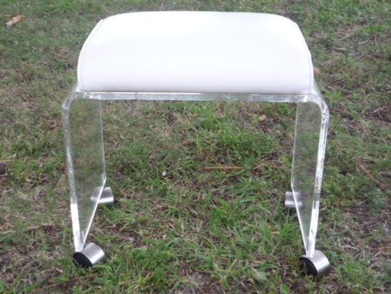 Items similar to Vintage Lucite Vanity Stool Bench Ottoman