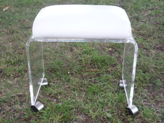 Vintage lucite vanity stool bench ottoman wheels by feelinvintage - Acrylic vanity chair ...