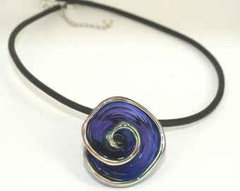 Pearly Lampwork Transfer Blue  Flower (1) 36mm SRA Black Leather Free Shipping