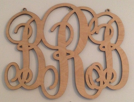Wooden script monogram with 3 letters 16 ships by for 16 wooden letters