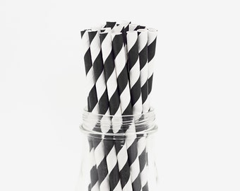 25 Black Striped Paper Straws Retro Vintage Style Carnival Circus Wedding Birthday Bridal Baby Shower W/ Printable Flags Ready To Ship