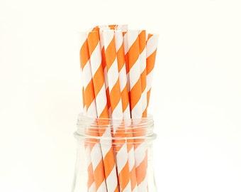 50 Orange Paper Straws Striped Retro Vintage Style Carnival Circus Wedding Birthday Bridal Baby Shower W/ Printable Flags