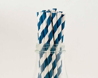 25 Royal Blue Paper Straws Striped Retro Vintage Style Carnival Circus Wedding Birthday Bridal Baby Shower W/ Printable Flags I Designed