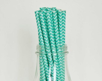 25 Teal Chevron Paper Straws Retro Vintage Style Carnival Circus Wedding Birthday Bridal Baby Shower W/ Printable Flags Ready to Ship