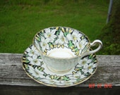 Vintage, Rosina Bone China, Teacup and Saucer, Black and Yellow, Lillies, Gold Trim