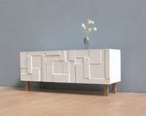 White Sideboard-Credenza 1/18_1/12  scale, Collectible Miniature Dollhouse Furniture,Modern Style, Contemporary Design