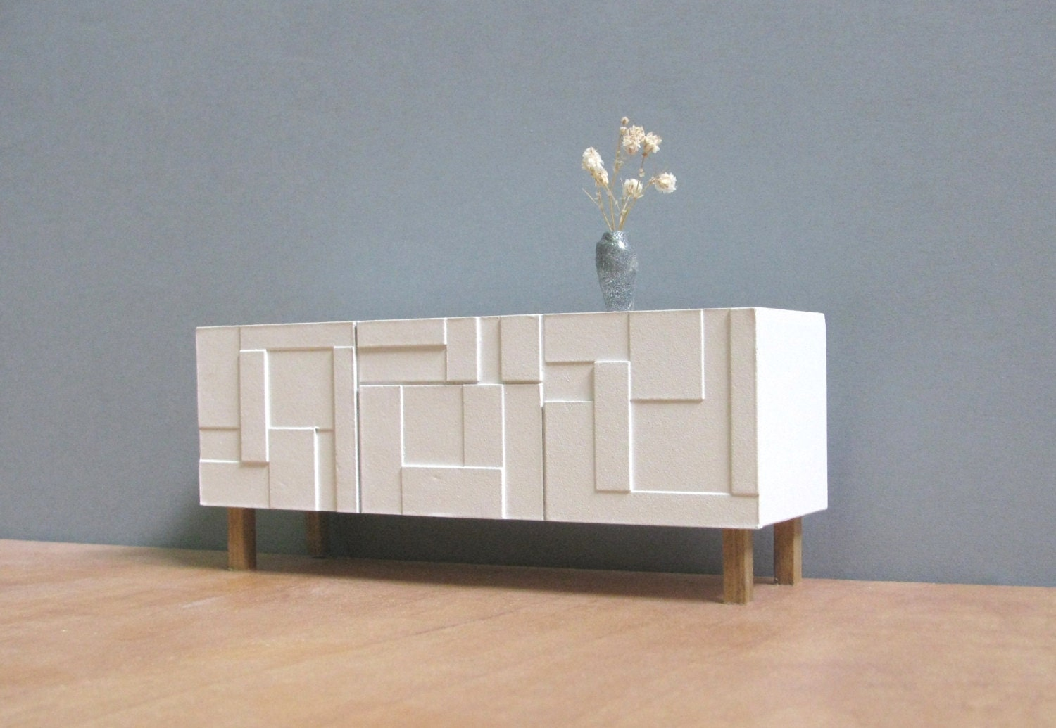 White Sideboard Credenza 1 18 1 12 Scale Collectible