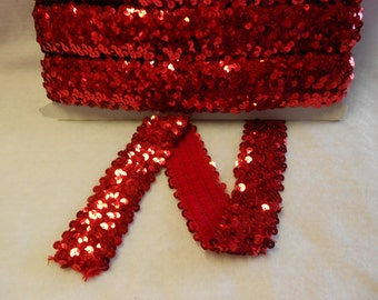 "3 2/3 yds. of 1 1/2""  Stretch Sequin Trim,  Red Shiny Sequin Trim,  Red Four  Row Sewing Craft Trim"